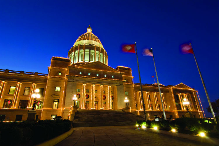 Arkansas State Capitol with holiday lights