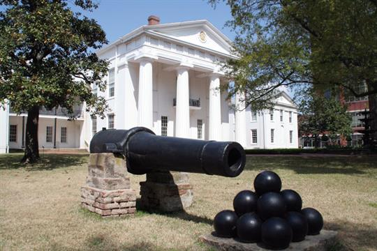 The cannon, named Mrs. Baxter, remains on the lawn of the Old State House Museum in downtown Little Rock