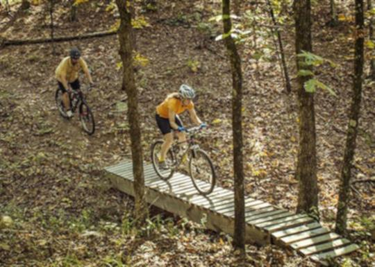 Mountain biking at Pinnacle Mountain State Park in Little Rock, Arkansas