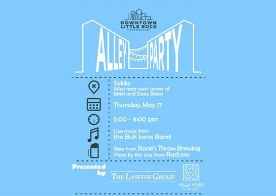 "blue background with black text.  Downtown Little Rock Partnership Logo over the ""Alley Party"" logo."