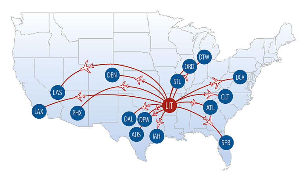 Little Rock Flights Map