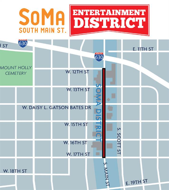 A map of the temporary South Main Entertainment District